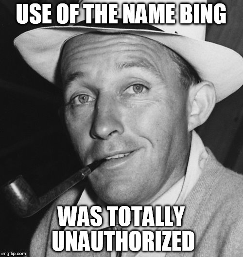 USE OF THE NAME BING WAS TOTALLY UNAUTHORIZED | made w/ Imgflip meme maker