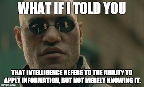 Matrix Morpheus Meme | WHAT IF I TOLD YOU THAT INTELLIGENCE REFERS TO THE ABILITY TO APPLY INFORMATION, BUT NOT MERELY KNOWING IT. | image tagged in memes,matrix morpheus | made w/ Imgflip meme maker