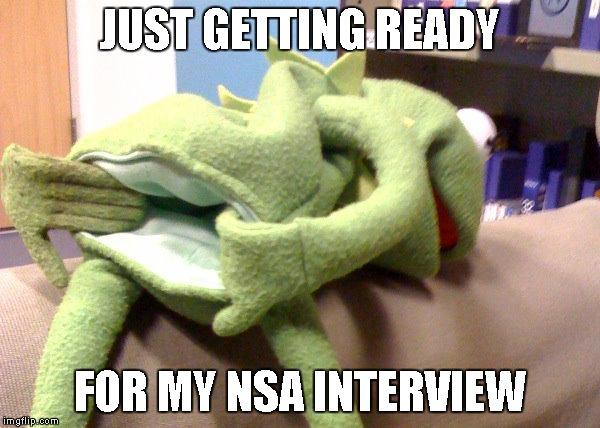 What an NSA interview must be like. | JUST GETTING READY FOR MY NSA INTERVIEW | image tagged in nsa,kermit,nsa interview | made w/ Imgflip meme maker