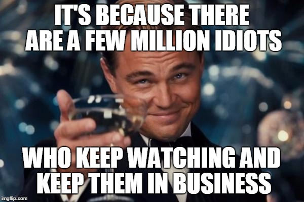 Leonardo Dicaprio Cheers Meme | IT'S BECAUSE THERE ARE A FEW MILLION IDIOTS WHO KEEP WATCHING AND KEEP THEM IN BUSINESS | image tagged in memes,leonardo dicaprio cheers | made w/ Imgflip meme maker