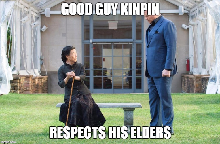 Good Guy Kingpin | GOOD GUY KINPIN RESPECTS HIS ELDERS | image tagged in good guy kingpin,daredevil,kingpin,memes,netflix | made w/ Imgflip meme maker