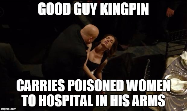 Good Guy Kingpin | GOOD GUY KINGPIN CARRIES POISONED WOMEN TO HOSPITAL IN HIS ARMS | image tagged in good guy kingpin,netflix,daredevil,kingpin,memes | made w/ Imgflip meme maker