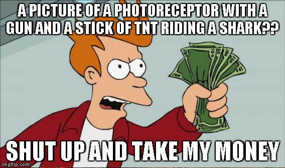A PICTURE OF A PHOTORECEPTOR WITH A GUN AND A STICK OF TNT RIDING A SHARK?? SHUT UP AND TAKE MY MONEY | made w/ Imgflip meme maker
