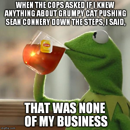 But Thats None Of My Business Meme | WHEN THE COPS ASKED IF I KNEW ANYTHING ABOUT GRUMPY CAT PUSHING SEAN CONNERY DOWN THE STEPS, I SAID, THAT WAS NONE OF MY BUSINESS | image tagged in memes,but thats none of my business,kermit the frog | made w/ Imgflip meme maker