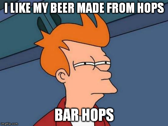 Futurama Fry Meme | I LIKE MY BEER MADE FROM HOPS BAR HOPS | image tagged in memes,futurama fry | made w/ Imgflip meme maker
