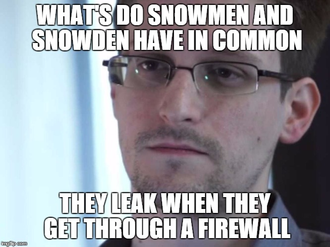 WHAT'S DO SNOWMEN AND SNOWDEN HAVE IN COMMON THEY LEAK WHEN THEY GET THROUGH A FIREWALL | made w/ Imgflip meme maker