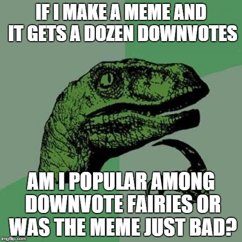 Philosoraptor Meme | IF I MAKE A MEME AND IT GETS A DOZEN DOWNVOTES AM I POPULAR AMONG DOWNVOTE FAIRIES OR WAS THE MEME JUST BAD? | image tagged in memes,philosoraptor | made w/ Imgflip meme maker