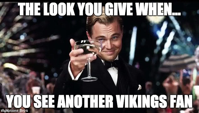 The look you give... | THE LOOK YOU GIVE WHEN... YOU SEE ANOTHER VIKINGS FAN | image tagged in minnesota vikings,vikings | made w/ Imgflip meme maker