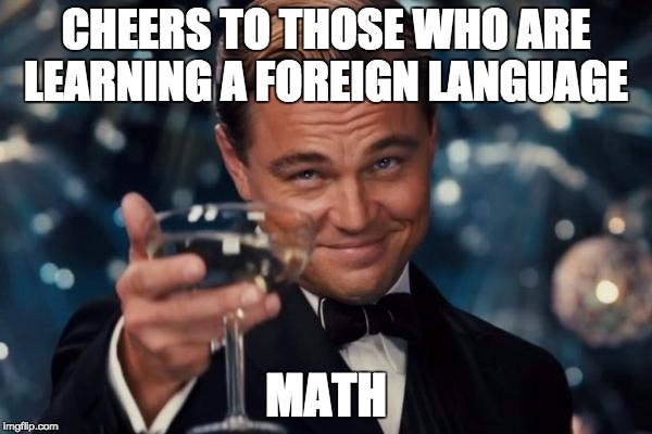 Leonardo Dicaprio Cheers Meme | CHEERS TO THOSE WHO ARE LEARNING A FOREIGN LANGUAGE MATH | image tagged in memes,leonardo dicaprio cheers | made w/ Imgflip meme maker