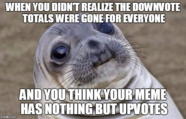 Awkward Moment Sealion Meme | WHEN YOU DIDN'T REALIZE THE DOWNVOTE TOTALS WERE GONE FOR EVERYONE AND YOU THINK YOUR MEME HAS NOTHING BUT UPVOTES | image tagged in memes,awkward moment sealion | made w/ Imgflip meme maker