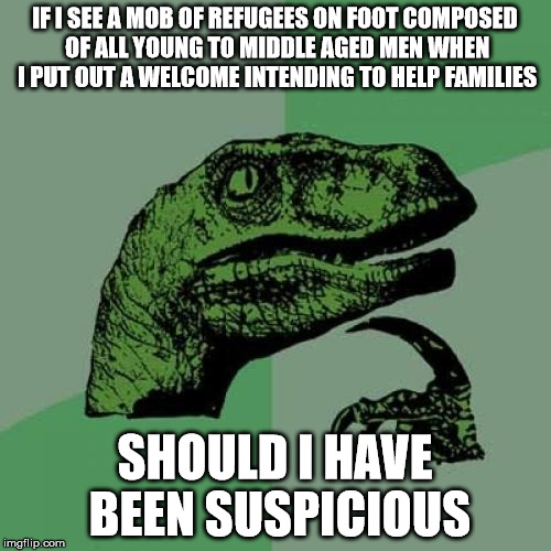 Philosoraptor Meme | IF I SEE A MOB OF REFUGEES ON FOOT COMPOSED OF ALL YOUNG TO MIDDLE AGED MEN WHEN I PUT OUT A WELCOME INTENDING TO HELP FAMILIES SHOULD I HAV | image tagged in memes,philosoraptor | made w/ Imgflip meme maker