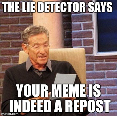 THE LIE DETECTOR SAYS YOUR MEME IS INDEED A REPOST | image tagged in memes,maury lie detector | made w/ Imgflip meme maker
