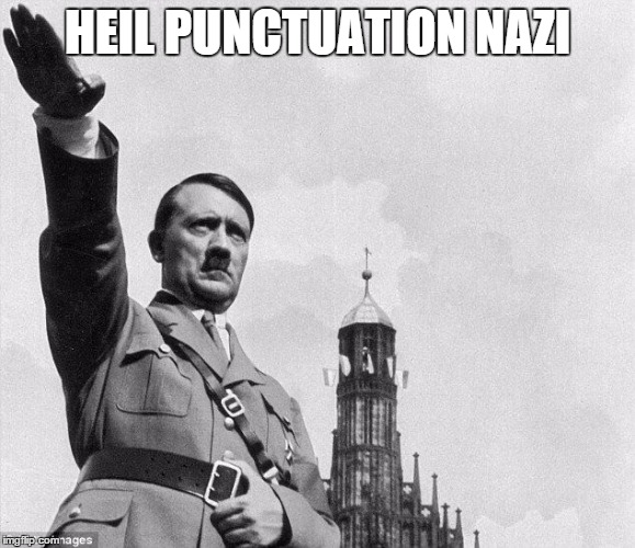 heil | HEIL PUNCTUATION NAZI | image tagged in heil | made w/ Imgflip meme maker