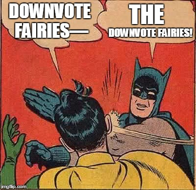 DOWNVOTE FAIRIES— DOWNVOTE FAIRIES! THE | image tagged in memes,batman slapping robin | made w/ Imgflip meme maker