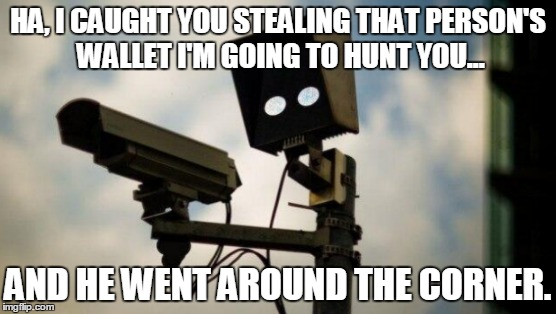 In The Name Of The Law | HA, I CAUGHT YOU STEALING THAT PERSON'S WALLET I'M GOING TO HUNT YOU... AND HE WENT AROUND THE CORNER. | image tagged in memes,funny,police,security,stealing | made w/ Imgflip meme maker