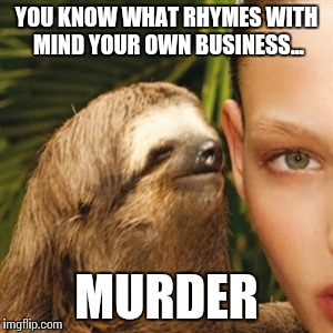 Whisper Sloth Meme | YOU KNOW WHAT RHYMES WITH MIND YOUR OWN BUSINESS... MURDER | image tagged in memes,whisper sloth | made w/ Imgflip meme maker