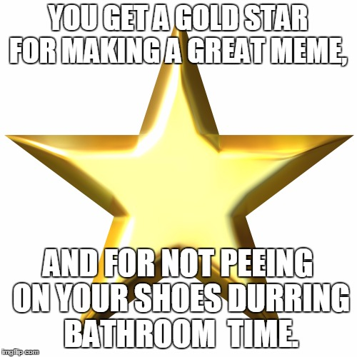 YOU GET A GOLD STAR FOR MAKING A GREAT MEME, AND FOR NOT PEEING ON YOUR SHOES DURRING BATHROOM  TIME. | made w/ Imgflip meme maker