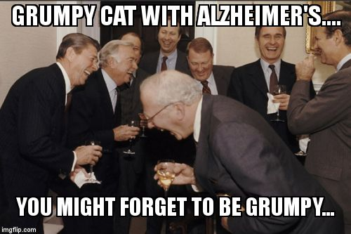 Laughing Men In Suits Meme | GRUMPY CAT WITH ALZHEIMER'S.... YOU MIGHT FORGET TO BE GRUMPY... | image tagged in memes,laughing men in suits | made w/ Imgflip meme maker