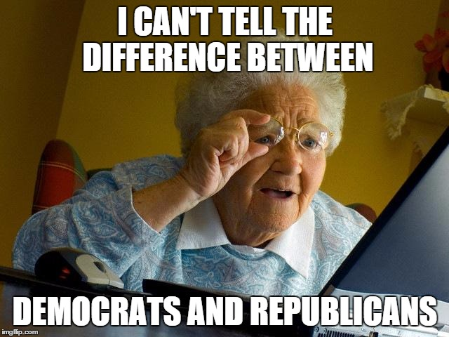 Grandma Finds The Internet | I CAN'T TELL THE DIFFERENCE BETWEEN DEMOCRATS AND REPUBLICANS | image tagged in memes,grandma finds the internet | made w/ Imgflip meme maker