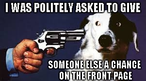 Hey man, no problem | I WAS POLITELY ASKED TO GIVE SOMEONE ELSE A CHANCE ON THE FRONT PAGE | image tagged in dog at gunpoint,raydog,funny,funny dog,animals | made w/ Imgflip meme maker