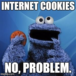 Cookie monster | INTERNET COOKIES NO, PROBLEM. | image tagged in cookie monster,sesame street | made w/ Imgflip meme maker