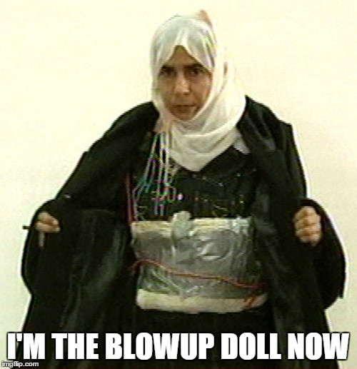 Isis Pinup | I'M THE BLOWUP DOLL NOW | image tagged in isis pinup | made w/ Imgflip meme maker