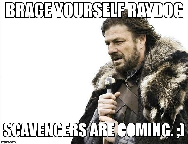 Brace Yourselves X is Coming Meme | BRACE YOURSELF RAYDOG SCAVENGERS ARE COMING. ;) | image tagged in memes,brace yourselves x is coming | made w/ Imgflip meme maker