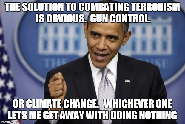 Barack Obama | THE SOLUTION TO COMBATING TERRORISM IS OBVIOUS.  GUN CONTROL. OR CLIMATE CHANGE.   WHICHEVER ONE LETS ME GET AWAY WITH DOING NOTHING | image tagged in barack obama | made w/ Imgflip meme maker