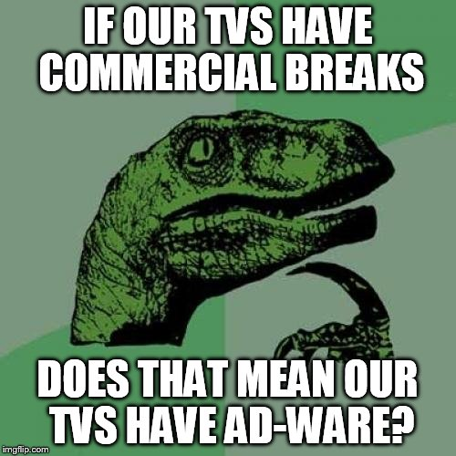Philosoraptor Meme | IF OUR TVS HAVE COMMERCIAL BREAKS DOES THAT MEAN OUR TVS HAVE AD-WARE? | image tagged in memes,philosoraptor | made w/ Imgflip meme maker