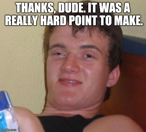 10 Guy Meme | THANKS, DUDE. IT WAS A REALLY HARD POINT TO MAKE. | image tagged in memes,10 guy | made w/ Imgflip meme maker