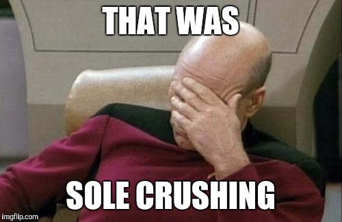 Captain Picard Facepalm Meme | THAT WAS SOLE CRUSHING | image tagged in memes,captain picard facepalm | made w/ Imgflip meme maker