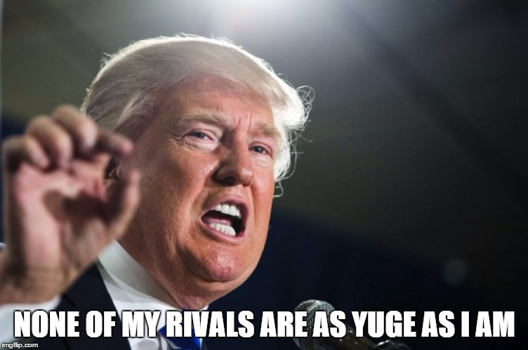 donald trump | NONE OF MY RIVALS ARE AS YUGE AS I AM | image tagged in donald trump | made w/ Imgflip meme maker