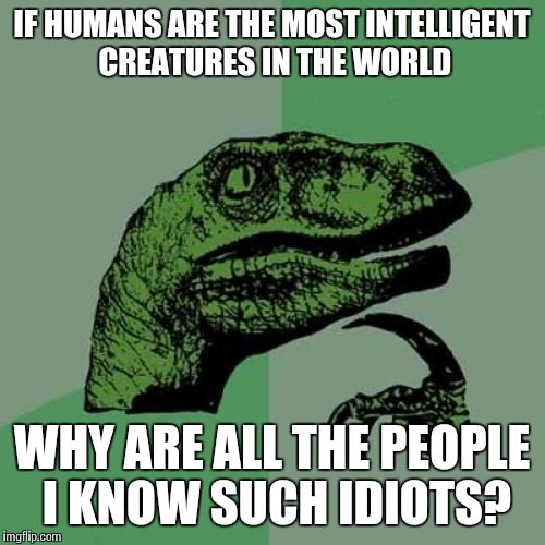 Philosoraptor Meme | IF HUMANS ARE THE MOST INTELLIGENT CREATURES IN THE WORLD WHY ARE ALL THE PEOPLE I KNOW SUCH IDIOTS? | image tagged in memes,philosoraptor | made w/ Imgflip meme maker