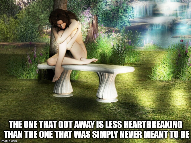 Wistful Longing | THE ONE THAT GOT AWAY IS LESS HEARTBREAKING THAN THE ONE THAT WAS SIMPLY NEVER MEANT TO BE | image tagged in wish,love,heart | made w/ Imgflip meme maker