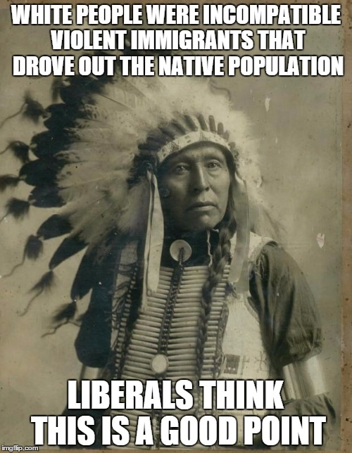 Indian illegal immigration | WHITE PEOPLE WERE INCOMPATIBLE VIOLENT IMMIGRANTS THAT DROVE OUT THE NATIVE POPULATION LIBERALS THINK THIS IS A GOOD POINT | image tagged in indian illegal immigration | made w/ Imgflip meme maker