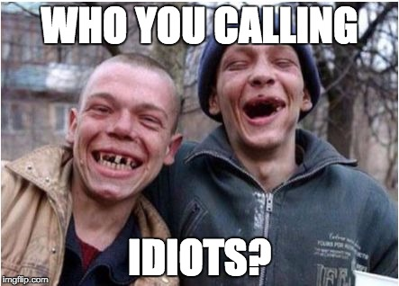 Toothless Twins | WHO YOU CALLING IDIOTS? | image tagged in toothless twins | made w/ Imgflip meme maker