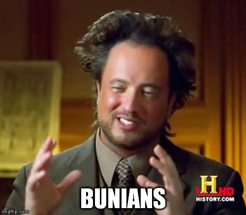 Ancient Aliens Meme | BUNIANS | image tagged in memes,ancient aliens | made w/ Imgflip meme maker