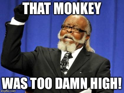 Too Damn High Meme | THAT MONKEY WAS TOO DAMN HIGH! | image tagged in memes,too damn high | made w/ Imgflip meme maker