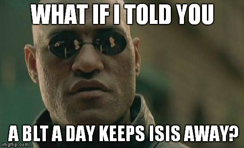 Matrix Morpheus Meme | WHAT IF I TOLD YOU A BLT A DAY KEEPS ISIS AWAY? | image tagged in memes,matrix morpheus | made w/ Imgflip meme maker