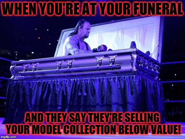 undertaker trolled | WHEN YOU'RE AT YOUR FUNERAL AND THEY SAY THEY'RE SELLING YOUR MODEL COLLECTION BELOW VALUE! | image tagged in undertaker trolled | made w/ Imgflip meme maker