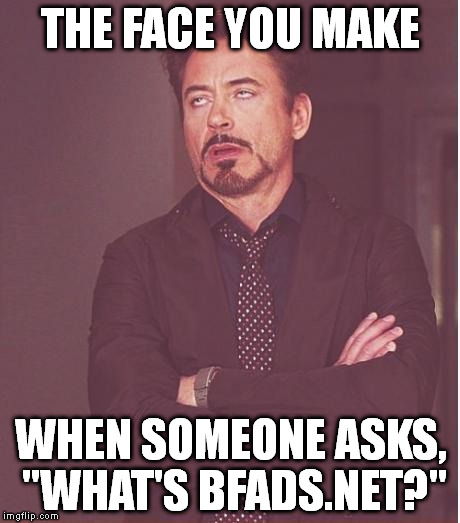 "Face You Make Robert Downey Jr Meme | THE FACE YOU MAKE WHEN SOMEONE ASKS, ""WHAT'S BFADS.NET?"" 