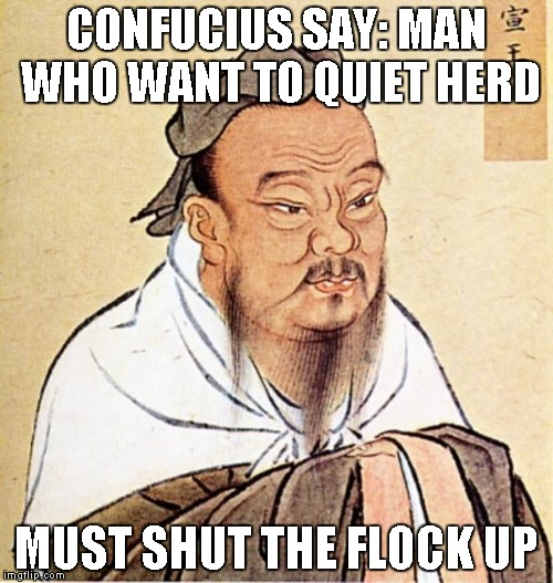 And with that, I'm taking a break from submitting memes for a bit. | CONFUCIUS SAY: MAN WHO WANT TO QUIET HERD MUST SHUT THE FLOCK UP | image tagged in confucious say | made w/ Imgflip meme maker