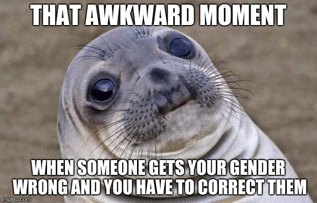 When you're a boy with long hair/girl with short hair... | THAT AWKWARD MOMENT WHEN SOMEONE GETS YOUR GENDER WRONG AND YOU HAVE TO CORRECT THEM | image tagged in memes,awkward moment sealion | made w/ Imgflip meme maker