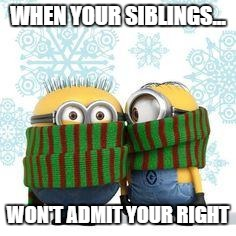 winter minions | WHEN YOUR SIBLINGS... WON'T ADMIT YOUR RIGHT | image tagged in winter minions | made w/ Imgflip meme maker