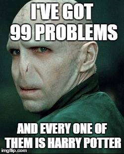 Voldemort | I'VE GOT 99 PROBLEMS AND EVERY ONE OF THEM IS HARRY POTTER | image tagged in voldemort | made w/ Imgflip meme maker