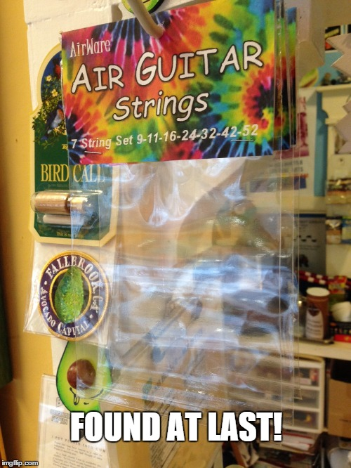 Air Guitar Strings...been looking all over for these. | FOUND AT LAST! | image tagged in air guitar strings,meme,memes,guitar,air guitar | made w/ Imgflip meme maker
