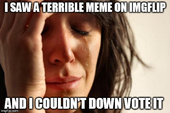 First World Problems Meme | I SAW A TERRIBLE MEME ON IMGFLIP AND I COULDN'T DOWN VOTE IT | image tagged in memes,first world problems | made w/ Imgflip meme maker