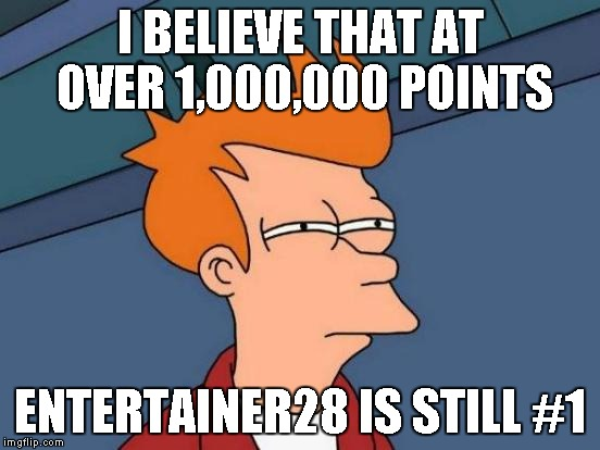 Futurama Fry Meme | I BELIEVE THAT AT OVER 1,000,000 POINTS ENTERTAINER28 IS STILL #1 | image tagged in memes,futurama fry | made w/ Imgflip meme maker