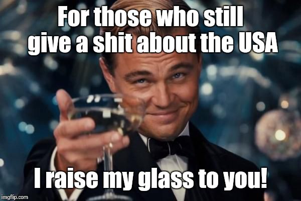 Leonardo Dicaprio Cheers | For those who still give a shit about the USA I raise my glass to you! | image tagged in memes,leonardo dicaprio cheers | made w/ Imgflip meme maker