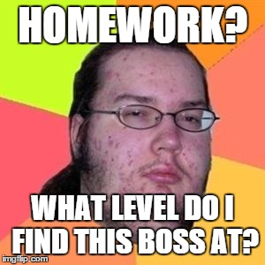 fat gamer | HOMEWORK? WHAT LEVEL DO I FIND THIS BOSS AT? | image tagged in fat gamer,gamer | made w/ Imgflip meme maker